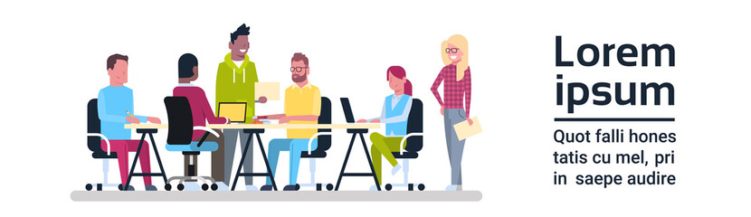Group Of Creative People Working Business Meeting Team Sitting At Office Desk Brainstorming Flat Vector Illustration