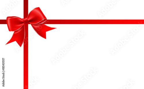 present red ribbon and a bow gift card gift voucher template with