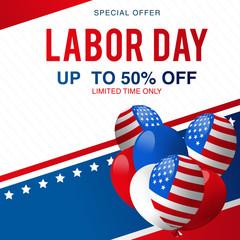 Labor Day Super Sale special offer poster, banner background