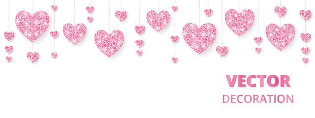 Wall Mural - Pink hearts frame, border. Vector glitter isolated on white. For decoration of Valentine and Mothers day cards, wedding invitations