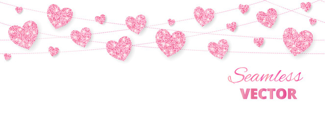 Pink hearts frame, seamless border. Vector glitter isolated on white. For decoration of Valentine and Mothers day cards, wedding invitations