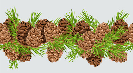 Pine cones. seamless horizontal pattern