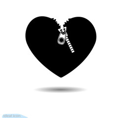 The heart icon. A symbol of love. Valentine s day with teeth Flat style for graphic and web design, logo. Black as coal. A lot of soot. Shadow Zipper lock