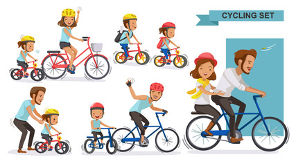 Cycling Couple set. Happy family riding bicycles together. parent, Fatherhood, Motherhood,