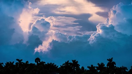 Fotobehang - Epic storm tropical clouds over palm trees silhouettes at sunset 4K UHDTimelapse