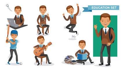 Boys High School of Education set. Using computers, using cell phones, jumping, playing baseball, playing guitar, reading books, hands up, in school uniforms. Student activity concept. Vector