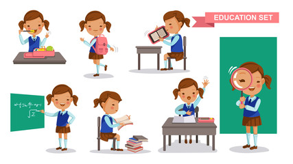 Girl student set. Cute little girl in School uniform, Eat lunch box, backpack, Read e-reader, write on the blackboard, reading books, raise hands, Stand up the magnifying glass.isolated illustration
