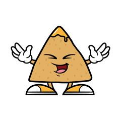 Cartoon Happy Tortilla Chip Character