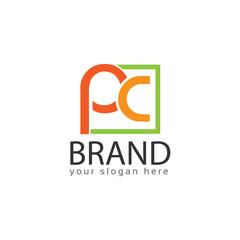 Letter PC, PC letter logo in rectangular. Flat logo design.
