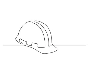 one line drawing of isolated vector object - hard hat