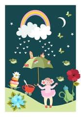 Funny small girl with fairy umbrella, clouds, rainbow, moon, stars, birds, butterflies, teapot and teacup on beautiful fantasy postcard in vector.