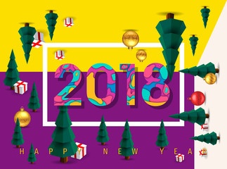 Happy New Year 2018 Background, Carte de voeux - New year greeting card, New year background. 2018 Happy New Year multi language for your Seasonal Flyers and Greetings Card.