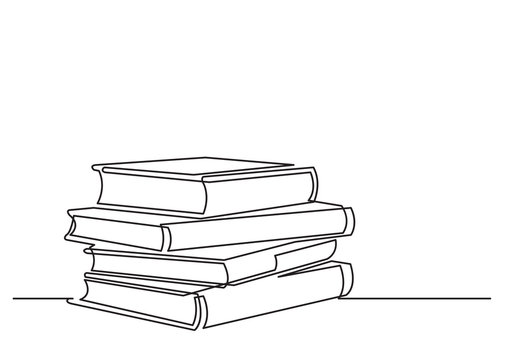 one line drawing of isolated vector object - pile of books
