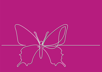continuous line drawing of isolated vector object - butterfly
