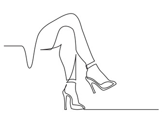 continuous line drawing of naked women legs in high heels