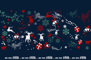 Happy New Year. Deer, gifts, snowflakes, garlands and salutes