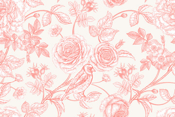 Seamless pattern with garden flowers and birds.