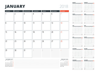 Calendar Planner for 2018 year. Design Template. Week Starts on Monday. Set of 12 months