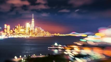 Fotobehang - NYC Manhattan skyline and Hudson River at night, New York City 4K timelapse
