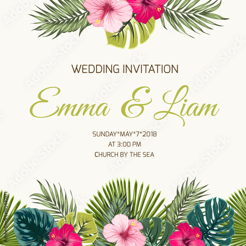 u0026quot wedding invitation card design template  exotic tropical