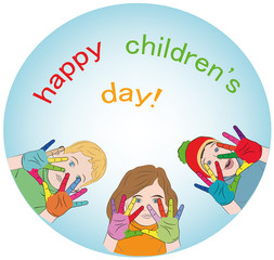 happy children. painted hands of different colors. logo. concept of happy children's day. vector illustration.