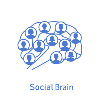social brain with human icons