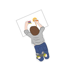 Happy children. View from above. the child is drawing. vector illustration.