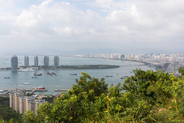 Phoenix Island in the center of Sanya City and the sea bay on the island of Hainan in China