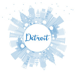 Outline Detroit Michigan USA City Skyline with Blue Buildings and Copy Space.
