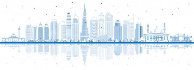Outline Dubai UAE City Skyline with Blue Buildings and Reflections.
