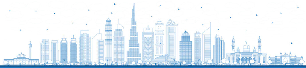 Outline Dubai UAE City Skyline with Blue Buildings.