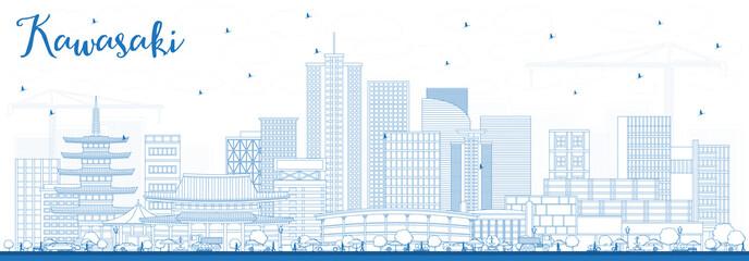 Outline Kawasaki Japan City Skyline with Blue Buildings.