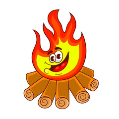 cartoon character design of a blazing fire with firewood, vector illustration