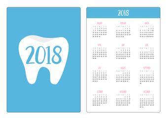 Pocket calendar 2018 year. Week starts Sunday. Healthy tooth icon. Oral dental hygiene. Children teeth care. Shining stars effect . Blue background. Flat design.