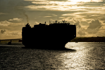 ship prow bow silhouette close up detail at sunset in Auckland