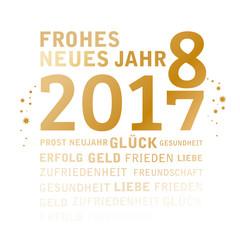 2018  Jahreswechsel mit Jahreszahlen Neujahrsgruß golden