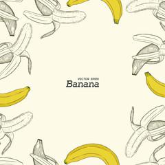 set of banana, hand draw sketch vector.