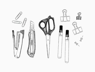 set of stationary , hand draw element sketch vector.