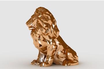 3d modeling gold lion