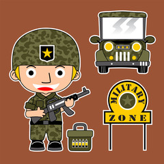 soldier cartoon with military vehicle