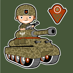 funny soldier cartoon on armored vehicle