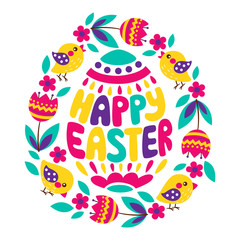 Happy Easter colorful lettering with flower, tulips and chick. Greeting card text templates with Easter eggs isolated on white background. Happy easter lettering