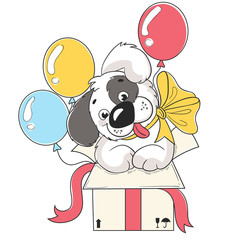 Cute puppy dog in box with baloons cartoon hand drawn vector illustration. Can be used for baby t-shirt print, fashion print design, kids wear, baby shower celebration greeting and invitation card.