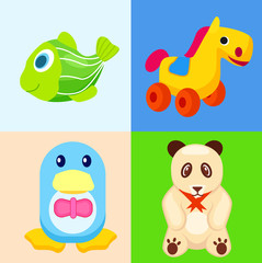 Funny Animal Toys in Colored Squares Illustrations