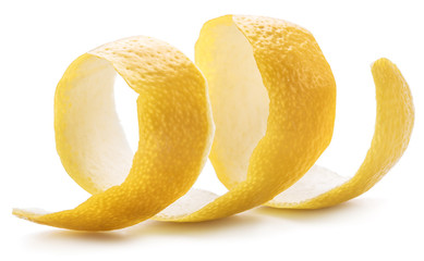 Lemon peel or lemon twist on white background. Close-up.