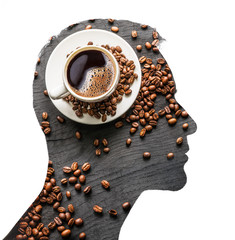 Creative double exposure of man and cup of coffee. Isolated on white.