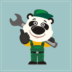 Funny panda in wearing overalls with the large wrench on her shoulder. Mechanic panda in cartoon style shows like.