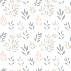 Vector botanical seamless pattern with textured hand drawn twigs.