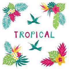 Floral paradise hand drawn summer tropical corner elements