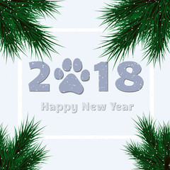 Happy New Year 2018. Lettering and fir with dog paw. Vector Illustration.